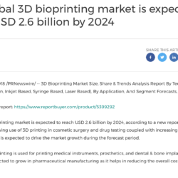 global 3D bioprinting market is expected to reach USD 2.6 billion by 2024