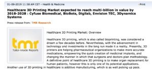 Healthcare 3D Printing Market expected to reach multi-billion in value by 2018-2028
